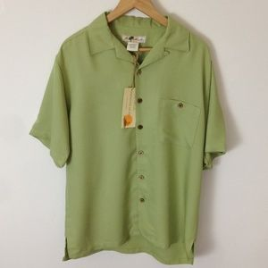 Joe Marlin M Green Textured Short Sleeve Shirt